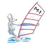 Wind surfing mouse Stock Image