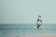 Wind surfing photo toned in vintage style royalty free stock photos