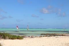 Kralendijk, Bonaire: 12/16/2017: Wind surfing on Sorobon Beach on the island of Bonaire. Wind surfing on Sorobon Beach on the Caribbean island of Bonaire royalty free stock photos