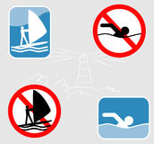 Wind-surfing and swimming icons. Royalty Free Stock Image