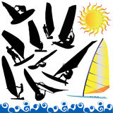 Wind surfing vector Royalty Free Stock Images