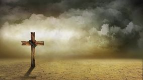 Wind Swept Cross. The video features a lonely landscape with a wooden cross and roiling clouds in the background vector illustration