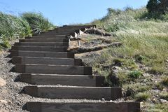 The wind swept hillside of Twin Peaks with railroad ties steps. Twin Peaks with its elevation of 925 feet, along with the strong winds that are a constant, make royalty free stock photos