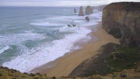 Wind swept shore near Twelve Apostles. Australia stock video footage