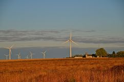 Wind Towers in the Horizon. Wind Turbines, a rural farmstead, and the fall colors of plants reflect the early morning Stock Photo