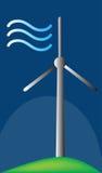 Wind Tubine-Maschinen-gehendes grünes Illustrations-Logo Lizenzfreies Stockbild