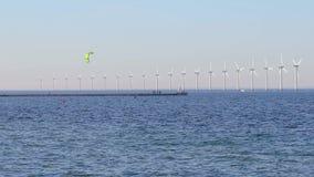 Wind tubines at sea stock video