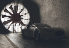 Wind Tunnel Concept Car Stock Photography
