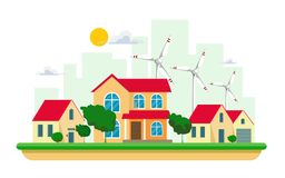 Vector illustration of clean electric energy from renewable sources of  wind on white background. Power plant buildings with solar. Vector illustration of clean vector illustration
