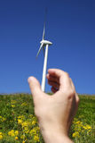 Wind Turbine 10. Wind Turbine Agaist Clear Blue Sky and Sun royalty free stock image