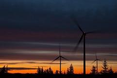 Wind turbine. In the night Stock Photos