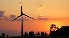 Wind turbine. Windmill to produce clean energy stock photo