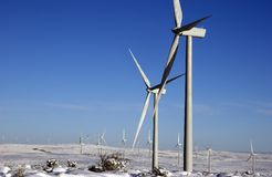 Wind Turbine. Farm in the snow Royalty Free Stock Image