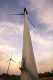 Wind Turbine. Wind energy converter; alternative energy generation; Man working on the system Stock Photos
