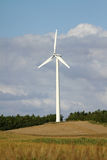 Wind turbine. Behind fields of corn and wheat, on a noce sunny summer day stock photography