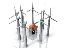 Wind turbine. Round  of wind turbine and a house in the center Stock Photos