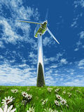 Wind turbine. One wind turbine in grass and flowers Royalty Free Stock Photo