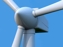 Wind turbine. Detail of wind turbine rotor on blue background stock illustration