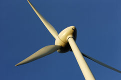 Wind turbine. Central part of a wind turbine up in blue sky royalty free stock images