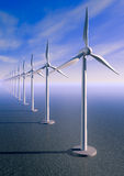Wind turbine. 3d rendering of Wind turbines over the sea with a blue sky Royalty Free Stock Photos