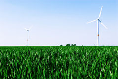Wind turbine. In a green wheat field Royalty Free Stock Photo