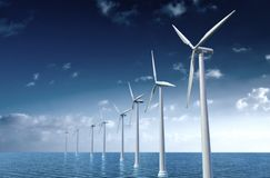 Wind turbine. In the sea Royalty Free Stock Photos