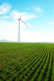 Wind turbine. Standing against a blue skywith some clouds in a green grass field royalty free stock image