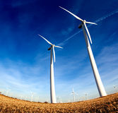 Windmills , Industrial Eolic installation Stock Photos