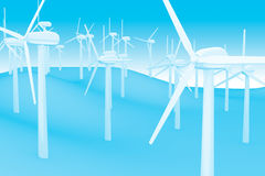 Wind turbine. Wind energy converter generate clean environmental energy Royalty Free Stock Images