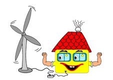 Wind turbine. This illustration depicts a funny house connected to the wind turbine stock illustration