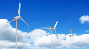 Wind turbine. 3d render of wind farm turbine and clouds Royalty Free Stock Image