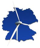 Wind turbine in an abstract map of Germany Royalty Free Stock Image