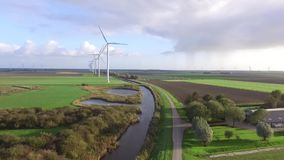 Wind turbine. Aerial view on a wind turbine stock video footage