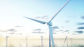 Wind turbine. Aerial view. monderfull landscape. Realistic 4k animation. stock footage