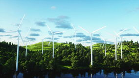 Wind turbine. Aerial view. monderfull landscape. Realistic 4k animation. stock video footage