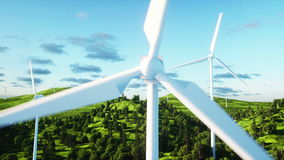 Wind turbine. Aerial view. monderfull landscape. Realistic 4k animation. stock video