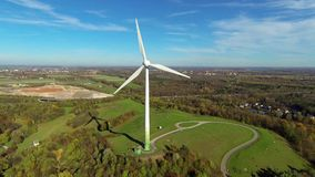 Wind turbine. Aerial view of wind turbine near munich, germany stock video