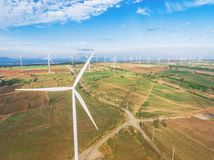 Wind Turbine, Wind Energy Concept. Wind turbine from aerial view. Sustainable development, environment friendly concept. Wind turbine give renewable energy Stock Images