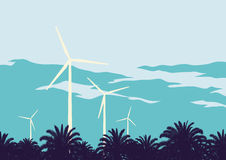 Wind turbine against the sky background Royalty Free Stock Images