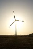 Wind turbine against sun Stock Images