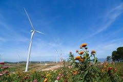 Wind Turbine for alternative energy. Wind Turbine for alternative energy on background sky stock photos