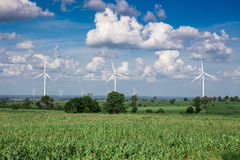 Wind Turbine for alternative energy on background sky Royalty Free Stock Photos