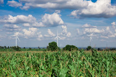 Wind Turbine for alternative energy on background Royalty Free Stock Image