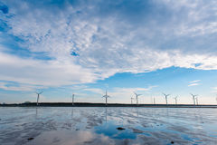 Wind turbine. Array at seashore wetland in Taiwan stock photos