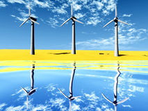 Wind turbine on  the beach. Wind turbine on the beach and reflect Stock Photography
