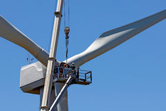 Wind turbine. A wind turbine is being repaired Royalty Free Stock Photo