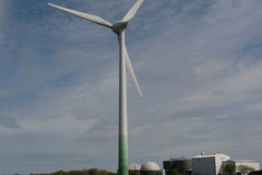Wind turbine and biogas plant Stock Photography