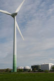 Wind turbine and biogas plant Royalty Free Stock Photos