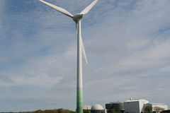 Wind turbine and biogas plant Royalty Free Stock Images