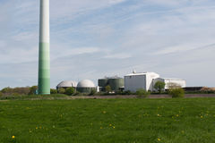 Wind turbine and biogas plant Royalty Free Stock Image